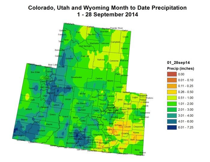 Upper Colorado River Basin month to date precipitation thru September 28, 2014