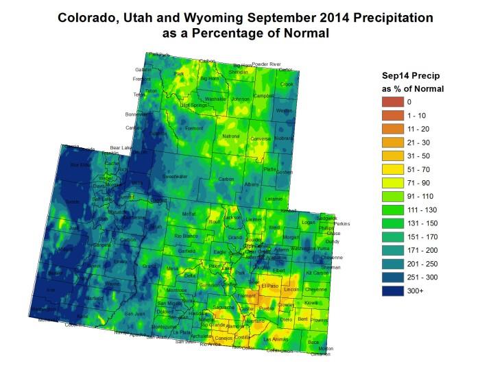 Upper Colorado River Basin September 2014 precipitation as a percent of normal