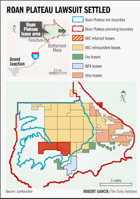 Roan Plateau settlement map via The Grand Junction Daily Sentinel