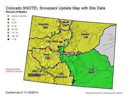 Statewide snowpack map November 18, 2014 via the NRCS