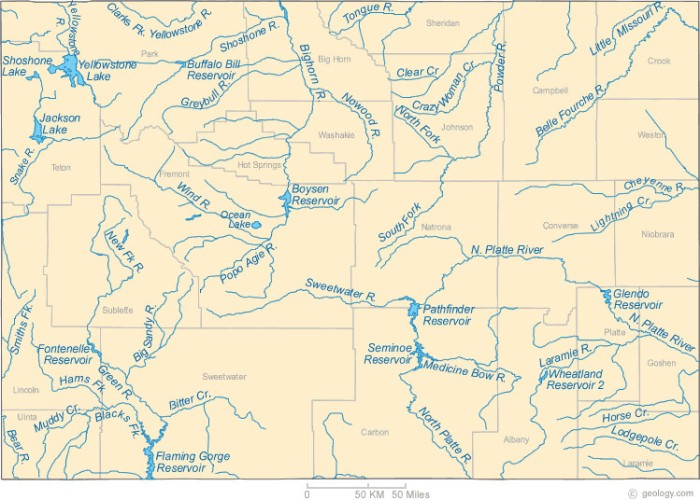 Wyoming rivers map via Geology.com