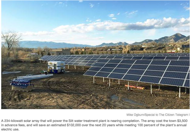 Silt water plant solar array photo via the Rifle Citizen Telegram