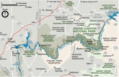 Map of Grand Canyon National Park via the NPS