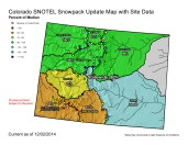 Colorado Statewide snowpack map December 2, 2014 via the NRCS