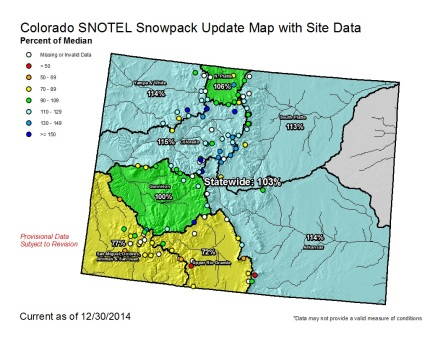 Statewide snowpack as a percent of average December 30, 2014 via the NRCS