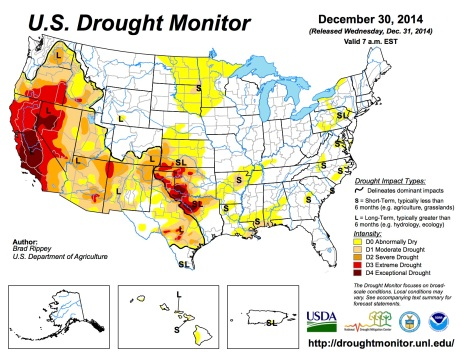 US Drought Monitor December 30, 2014