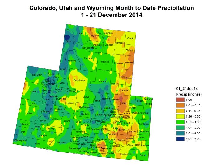 Upper Colorado River Basin precipitation December 1 thru December 21, 2014