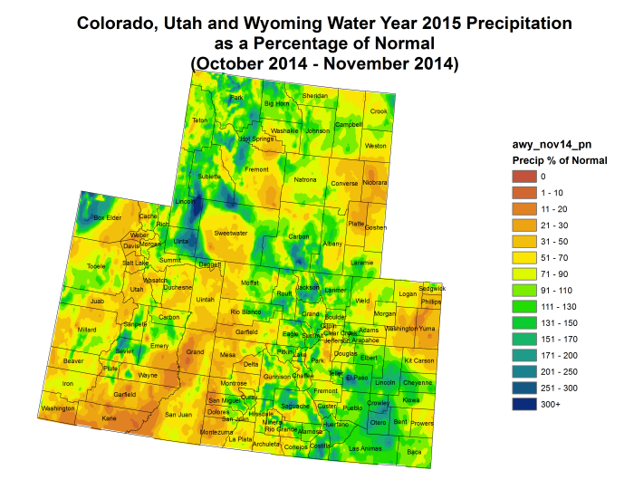 Upper Colorado River Basin water year 2015 precipitation as a percent of normal October - November via the Colorado Climate Center