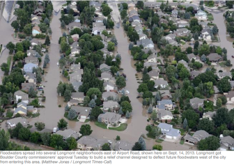 Flooding in Longmont September 14, 2013 via the Longmont Times-Call