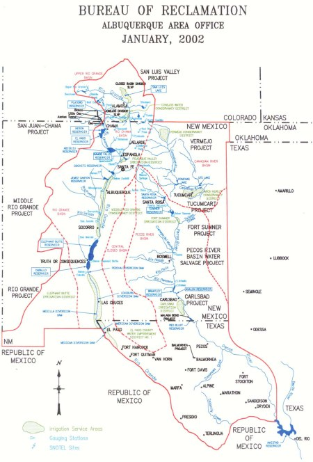 New Mexico water projects map via Reclamation