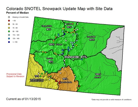 Statewide snowpack map January 13, 2015 via the NRCS
