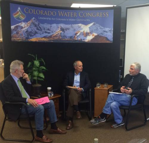 Panelists Jim Lochhead and Eric Kuhn, prompted by moderator Dan Luecke, discuss Colorado's transbasin diversions.