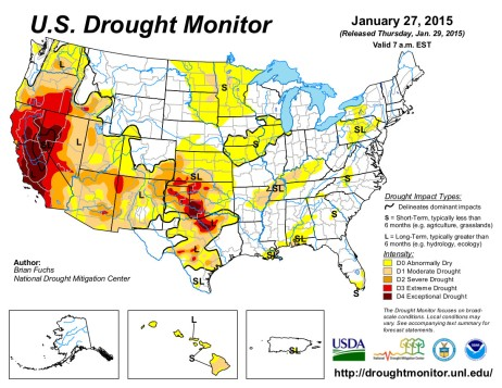 US Drought Monitor January 27, 2015