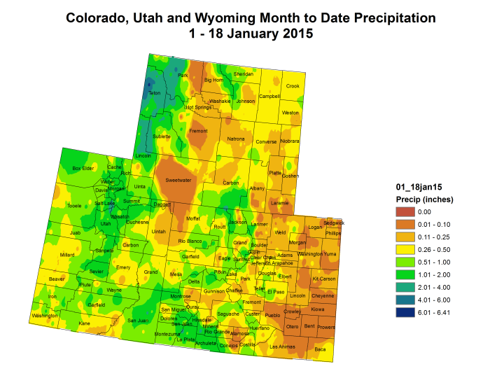 Upper Colorado River Basin  month to date precipitation January 18, 2015 via the Colorado Climate Center