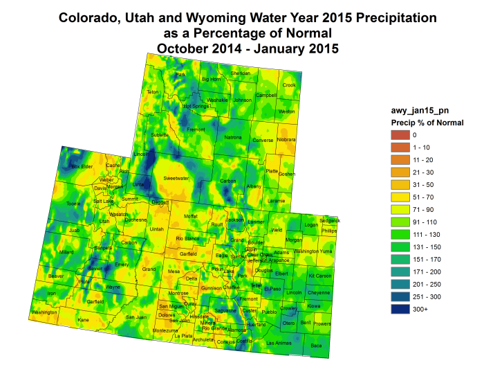 Upper Colorado River Basin water year 2015 precipitation as a percent of normal thru January 2015