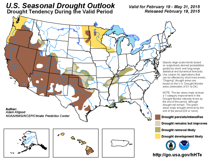 Seasonal Drought Outlook February 19 thru May 31, 2015 via the Climate Prediction Center
