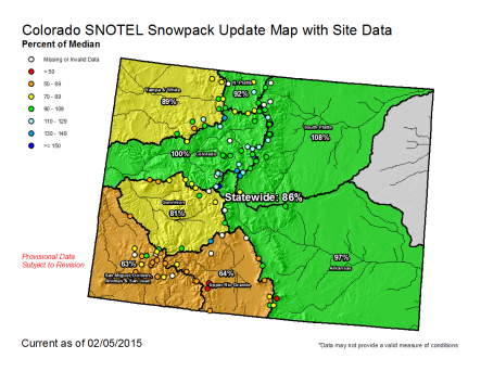 Statewide snowpack map February 5, 2015 via the NRCS