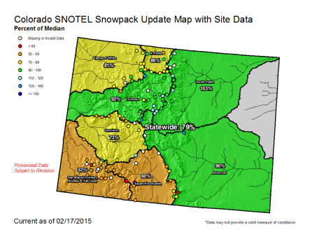 Statewide snowpack February 17, 2015 via the NRCS