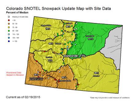 Statewide snowpack February 18, 2015 via the NRCS