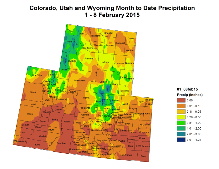 Upper  Colorado River Basin month to date precipitation February 1 thru February 8, 2015