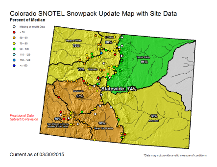 Statewide snowpack map March 30, 2015 via the NRCS