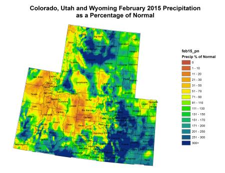Upper Colorado River Basin February 2015 precipitation as a percent of normal