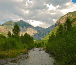 The San Miguel River near its headwaters in Telluride, Colorado. @bberwyn photo.
