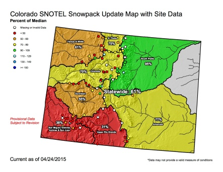 Statewide snowpack map April 24, 2015 via the NRCS