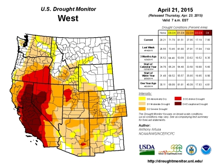West Drought Monitor April 21, 2015