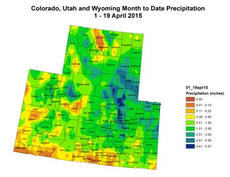 Upper Colorado River Basin precipitation April 1 thru April 19, 2015 via the Colorado Climate Center