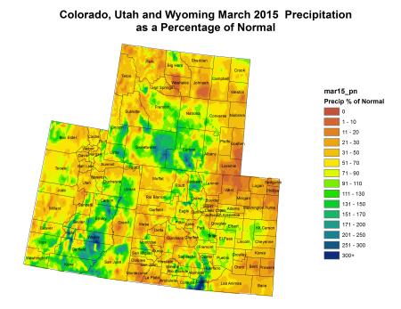Upper Colorado River Basin March 2015 precipitation as a percent of normal via the Colorado Climate Center
