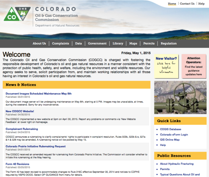 Colorado Oil and Gas Conservation Commission website screen shot May 1, 2015