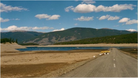 During the 2002 drought, Dillon Reservoir, one of Denver's main sources of drinking water, dropped to a record-low level, forcing mandatory watering restrictions in the city and hampering recreation in Summit County.  Photo by Bob Berwyn