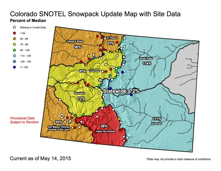 Statewide snowpack map May 14, 2015 via the NRCS
