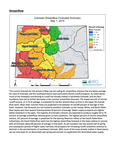 May 1, 2015 Colorado streamflow forecast map via the NRCS