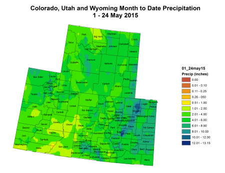 Upper Colorado River Basin month to date precipitation May 1 thru May 24, 2015