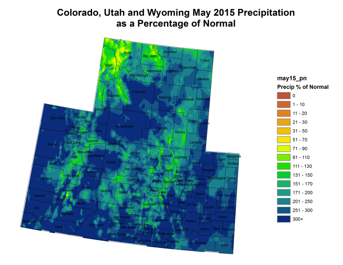 """Miracle May"" -- Upper Colorado River Basin May 2015 precipitation as a percent of normal"