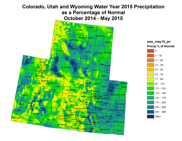 Federal Water Year precipitation as a percent of normal thru May 31, 2015