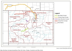 Conceptual vision of potential transmountain diversions from the South Platte Roundtable Basin Implementation Plan