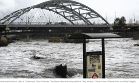 Flooded confluence of Cherry Creek and the South Platte River June 2015 photo via Andy Cross, Getty Images and The Denver Post