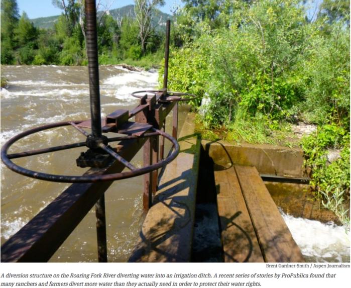 Diversion structure Roaring Fork River via Aspen Journlism