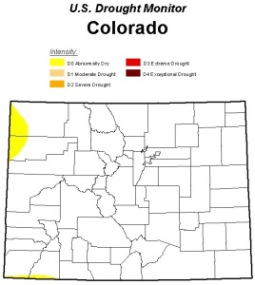 This U.S. Drought Monitor map shows nearly all of Colorado no longer carries a drought designation.