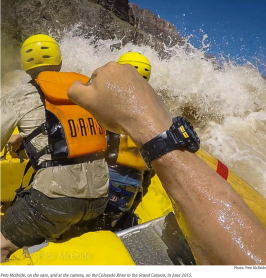 Peter McBride at the oars and cameral Grand Canyon June 2015
