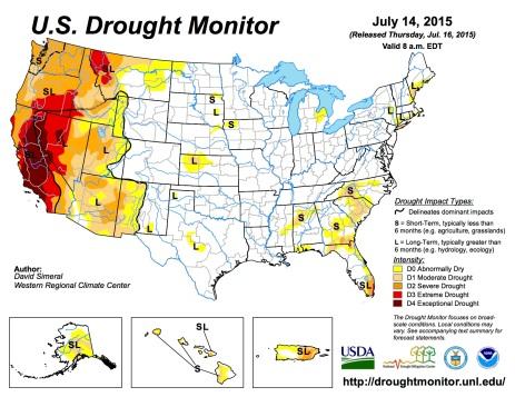 US Drought Monitor July 14, 2015