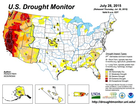 US Drought Monitor July 28, 2015
