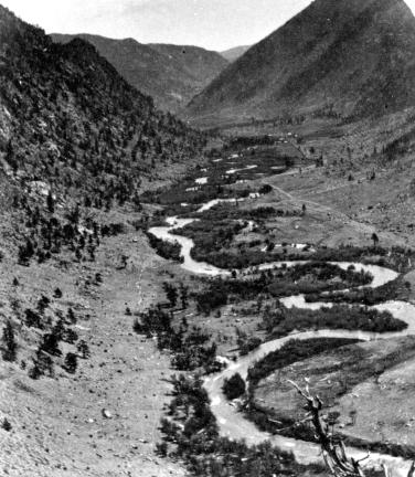 View down Clear Creek from the Empire Trail 1873 via the USGS