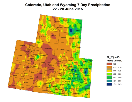 Upper Colorado River Basin  June 22 thru June 28, 2015 7-day precipitation