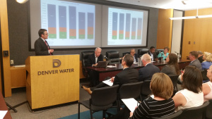 Denver Board of Water Commissioner members listen to information at the July 2015 fluoride information session.