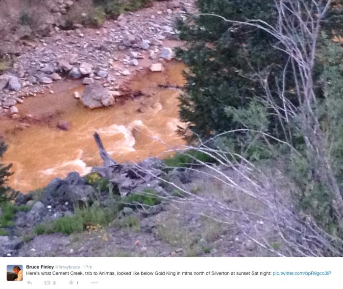Cement Creek August 8, 2015 -- Bruce Finley via Twitter