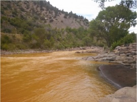 Gold King mine spill Animas River August 2015 photo — Nancy Fisher via The Colorado Independent